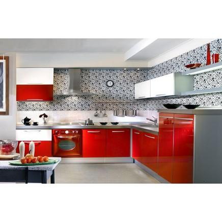 Кухня МДФ эмаль красный