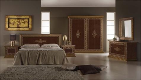 "Спальня ""Дженнифер"" махагон  ( шкаф 4 дв., кровать 160*200,  2 тумбы, комод,зеркало"