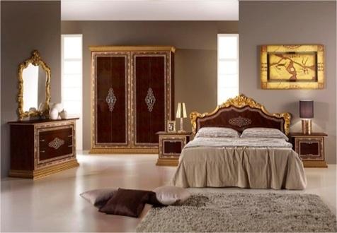 "Спальня ""Дженнифер Люкс"" махагон (кровать 160*200 +2 тумбы+комод+зеркало)"