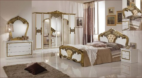 """Мебель для спальни """"Аида"""" с золотом."""