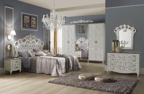 """Мебель для спальни """"Изабелла"""", цвет белый-серебро"""
