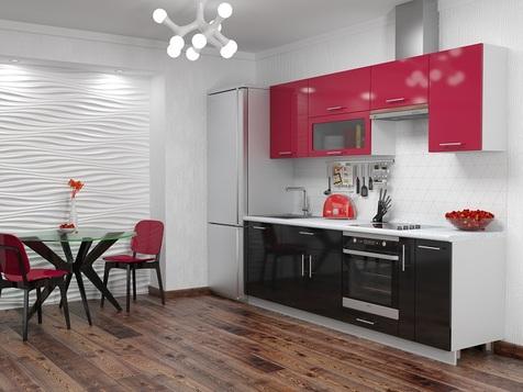 Кухня черная с красным МДФ глянец