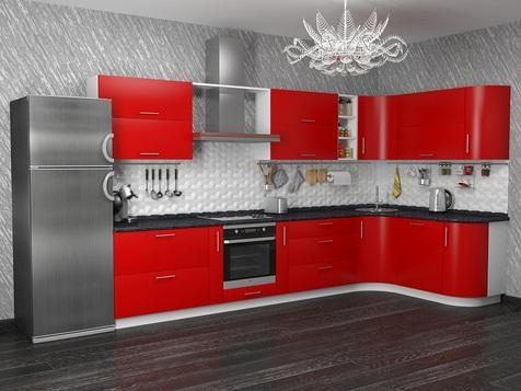 Кухня красная МДФ глянец