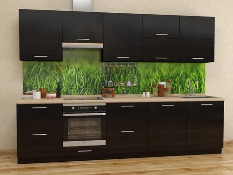 Кухня Черный мдф пластик
