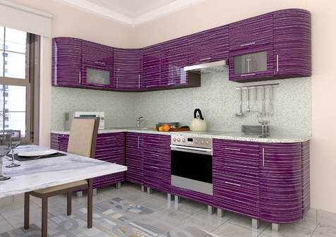 Кухня мдф ФИолетовая Страйп