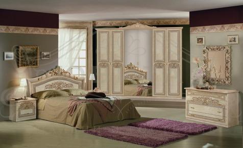 """Мебель для спальни """"Мишель"""" 2014, цвет светлый бежевый с золотом"""