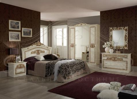 """Мебель для спальни """"Мишель"""" 2015, цвет светлый бежевый с золотом"""